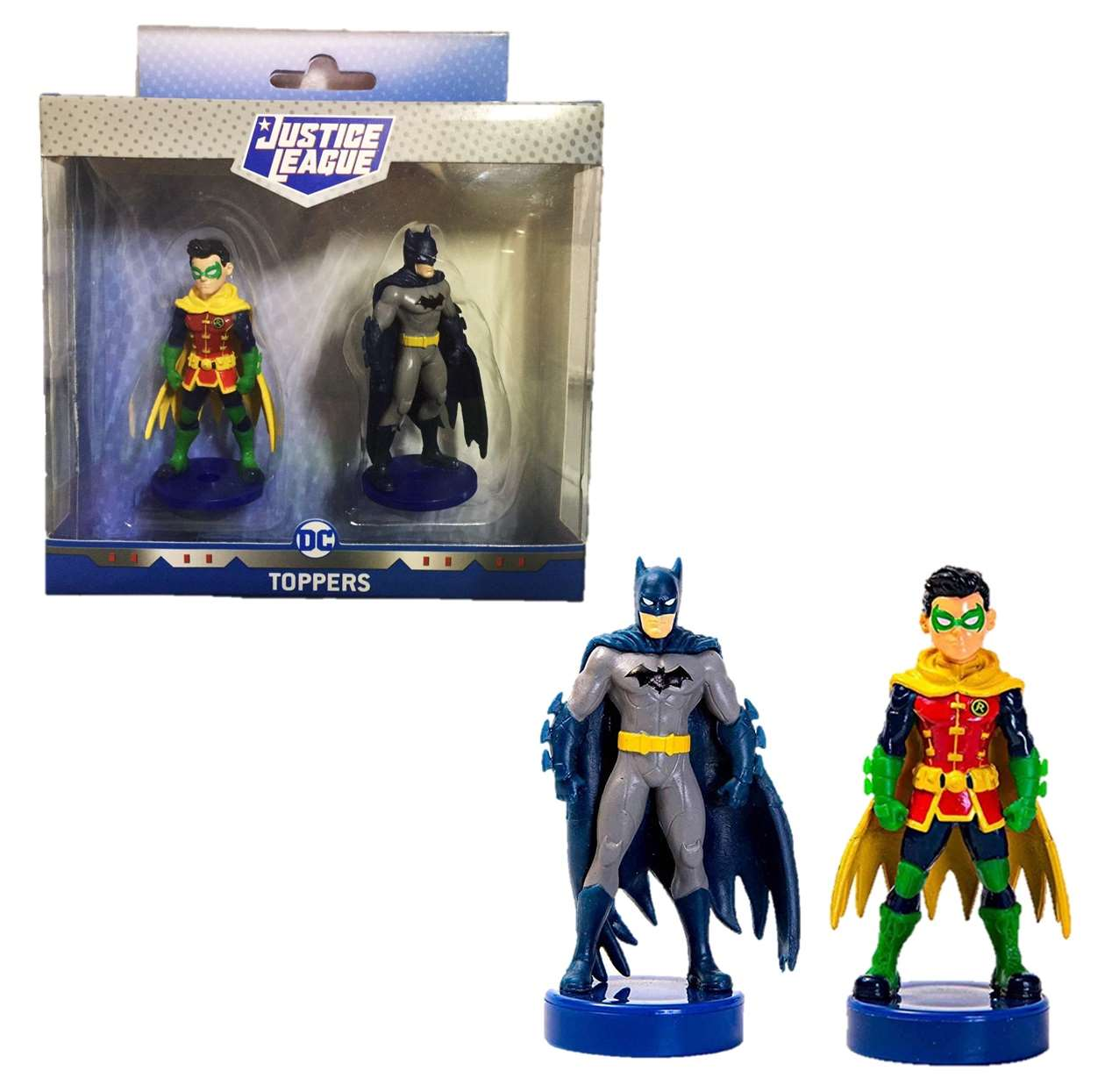 Pack 2 Figurillas Batman And Robin Toppers Justice League