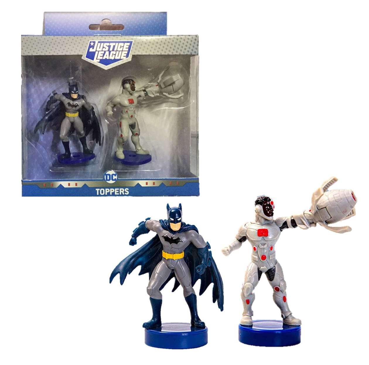Pack 2 Figurillas Batman And Cyborg Toppers Justice League