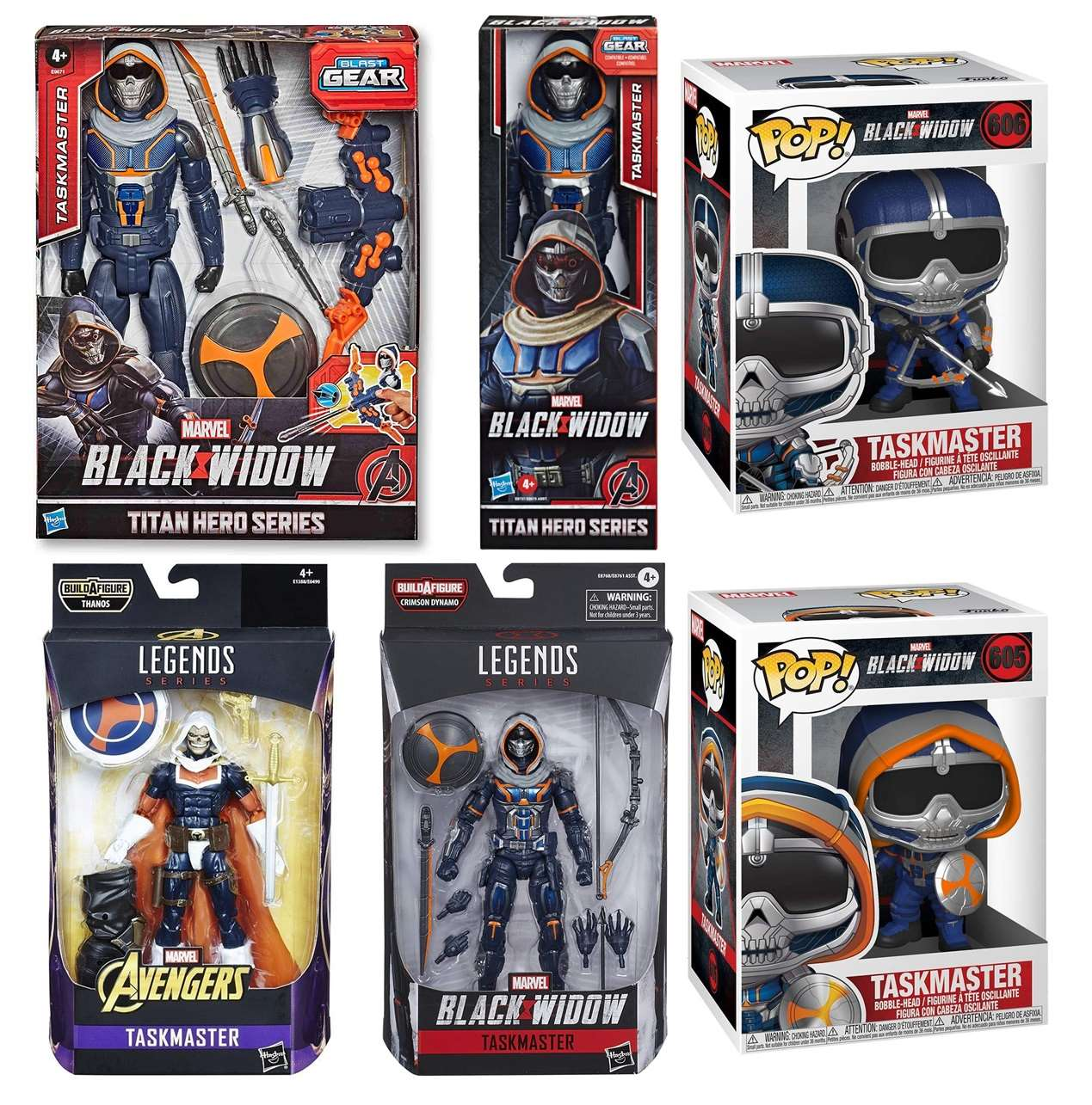 Paquete De 6 Figuras Taskmaster Marvel Black Widow Hasbro