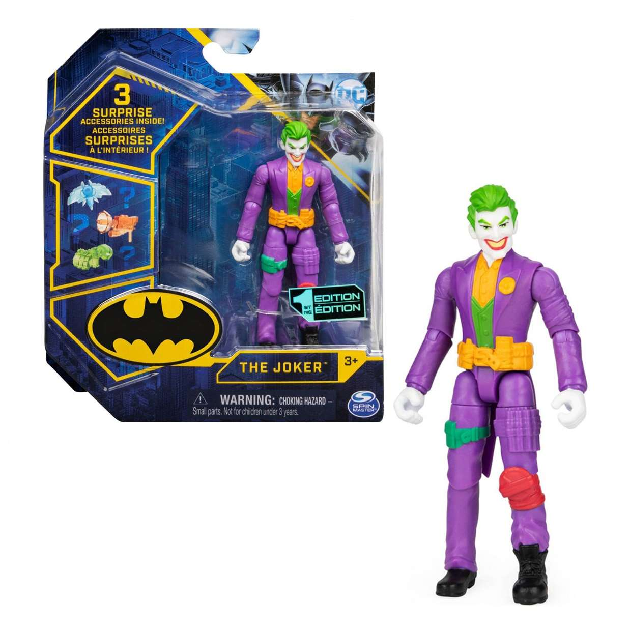The Joker 1st Edition Figura Dc Comics Spin Master 3 Pulg