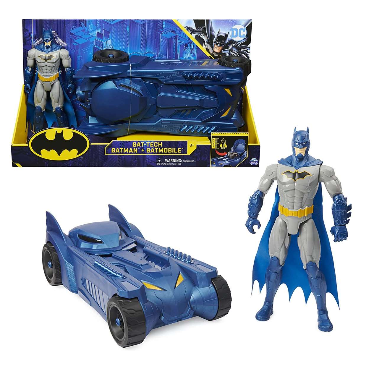 Pack Bat Tech Batman + Batmobile Figura The Caped Crusader