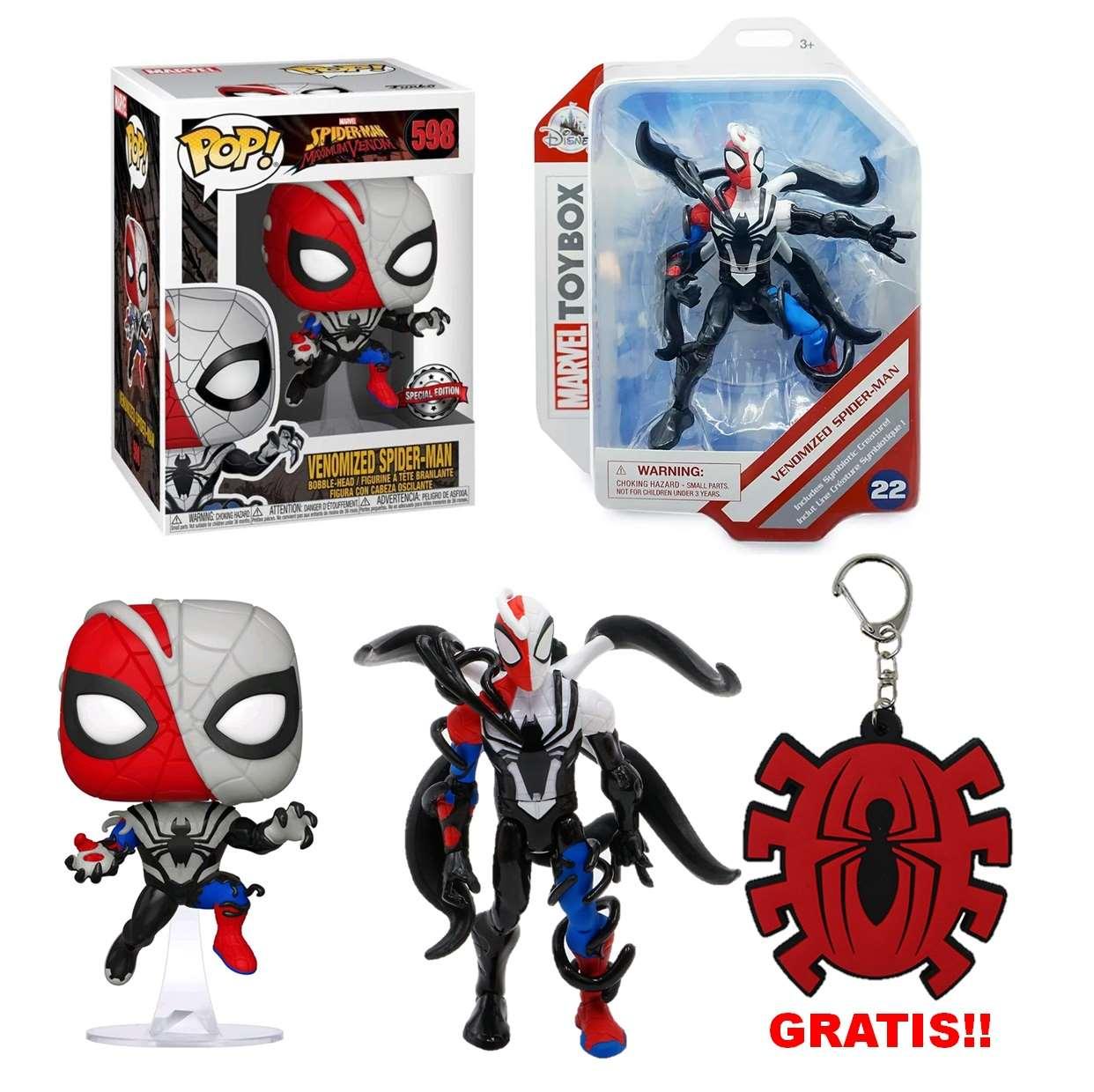 Paquete Venomized Spider Man #22 Toybox + #598 Funko Pop!