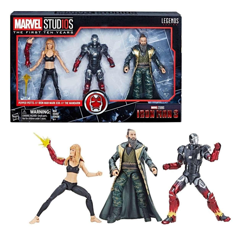 Pack Iron Man 3, Pepper Potts, Mandarin Marvel Legends 10th