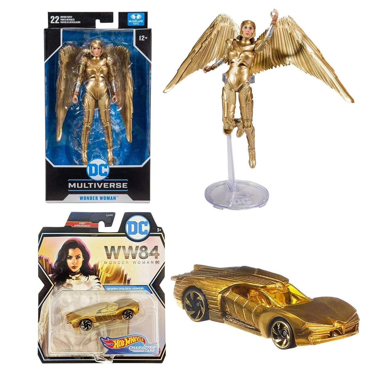 Pack Wonder Woman Gold Armor Mcfarlane + Hot Wheels