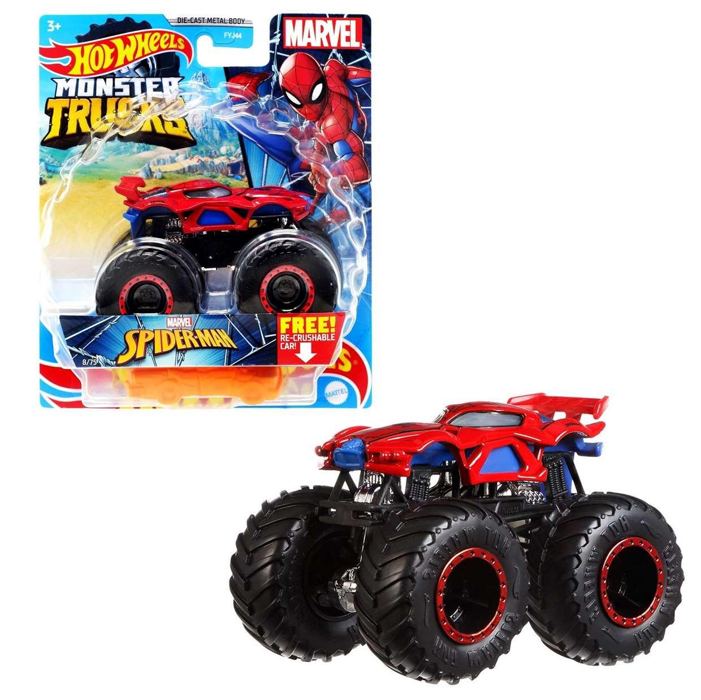 Monster Trucks Spider Man 8/75 Marvel Hot Wheels Free! Re-Crushable Car