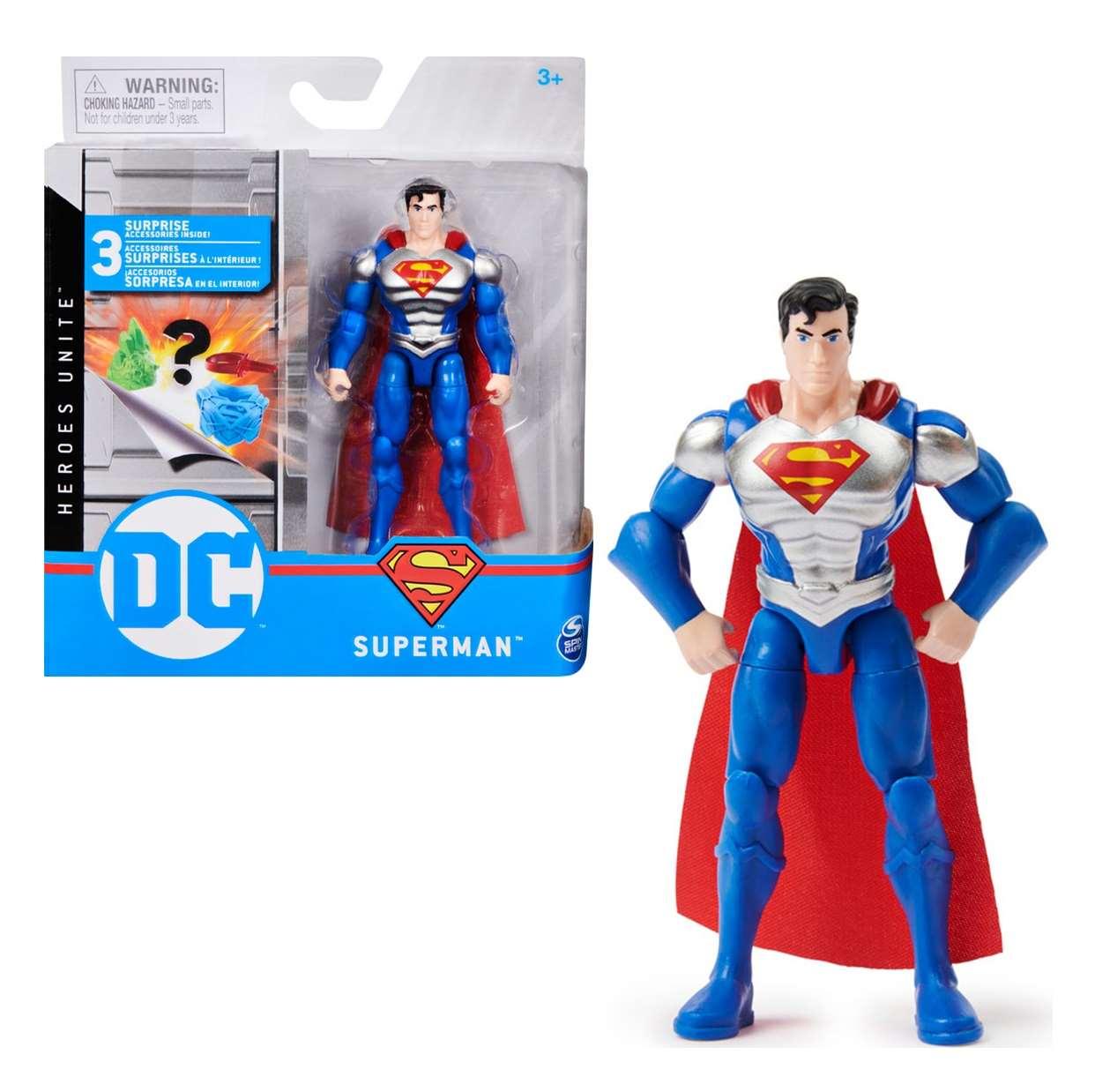 Superman Silver Metallic Figura Dc Heroes Unite Spin Master